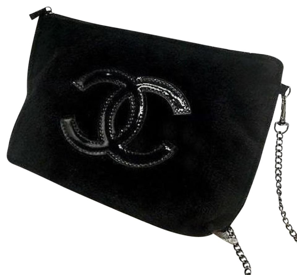 85374e4e3bbf Chanel Beaute W/ Chain Shoulder Strap Black Velour Cross Body Bag ...