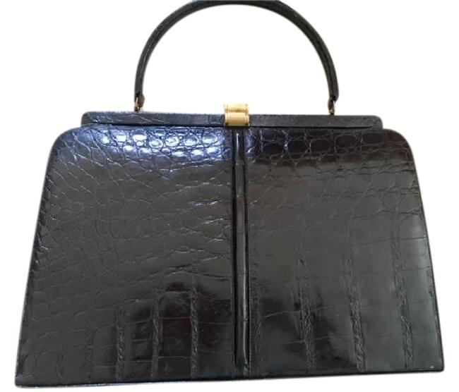 Item - Vintage Black Alligator Skin Leather Satchel