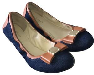 Cole Haan Navy blue denim with brown leather and gold accent Flats