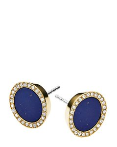 Michael Kors 50% OFF! BRAND NEW Gold Tone Blue Lapis Circle Stud Earrings