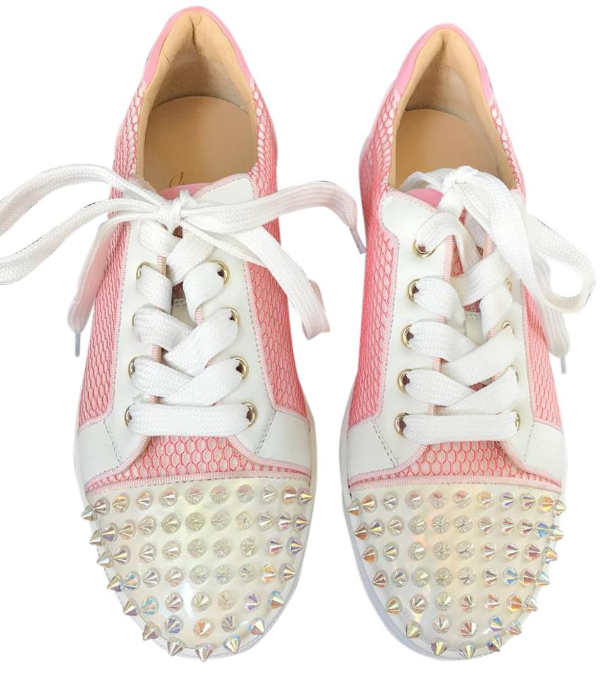newest 817bb 50f39 Christian Louboutin Gondolita Dolly Pink White Spike Trainer Flats 37.5  Sneakers Size US 7.5 Regular (M, B) 33% off retail