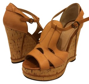 Chlo Cork Leather Nude Wedges