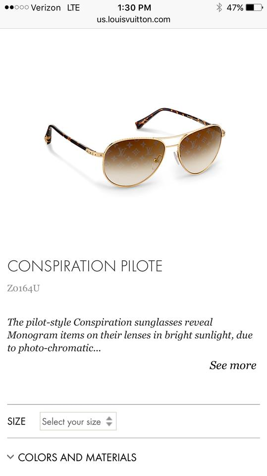 fb95ec3c966 Louis Vuitton Gold 'conspiration' Pilote Sunglasses 23% off retail