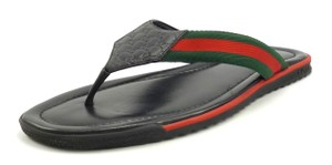 Gucci Men's Gg Canvas And Leather Thong Sandals