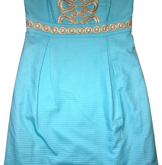 Item - Aqua Blue and Gold Strapless Embroidered Mini Short Casual Dress Size 0 (XS)