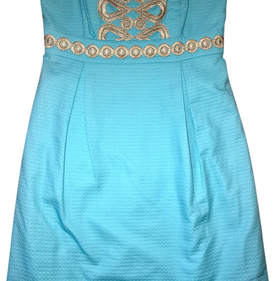 Lilly Pulitzer Aqua Blue and Gold Strapless Embroidered Mini Short ...