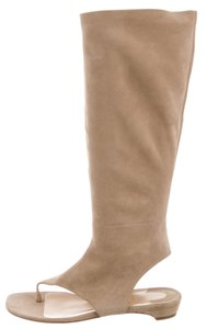 Christian Louboutin Suede Knee-high Tall Peep Toe Cut-out Beige Boots