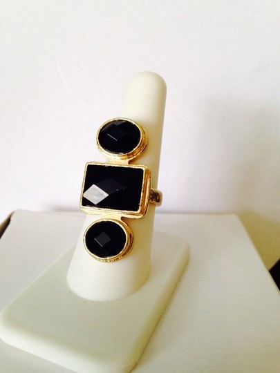Other Embellished by Leecia Faceted Black Resin Gold-Tone Ring, Size 8 Image 1