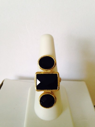 Other Embellished by Leecia Faceted Black Resin Gold-Tone Ring, Size 8 Image 2