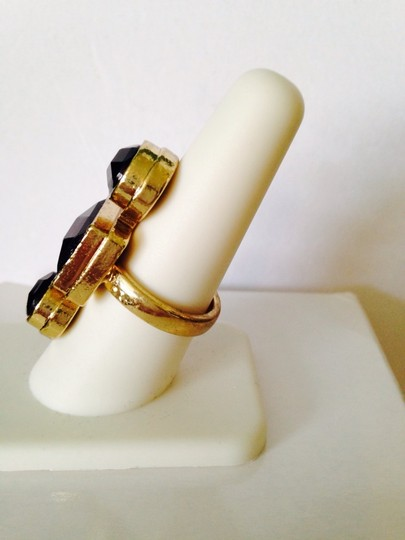 Other Embellished by Leecia Faceted Black Resin Gold-Tone Ring, Size 8