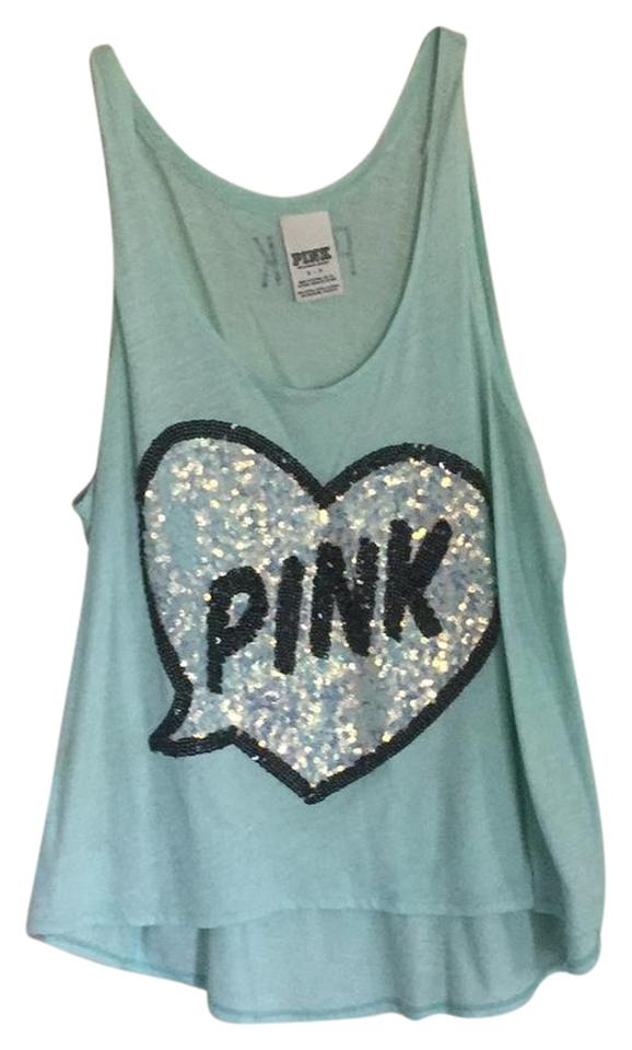 a few days away get cheap outlet Victoria's Secret Light Blue Pink Tank Top/Cami Size 4 (S) - Tradesy