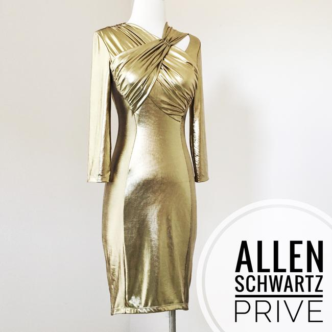 A.B.S. by Allen Schwartz Lame Sexy Fitted Bodycon Metallic Dress Image 1