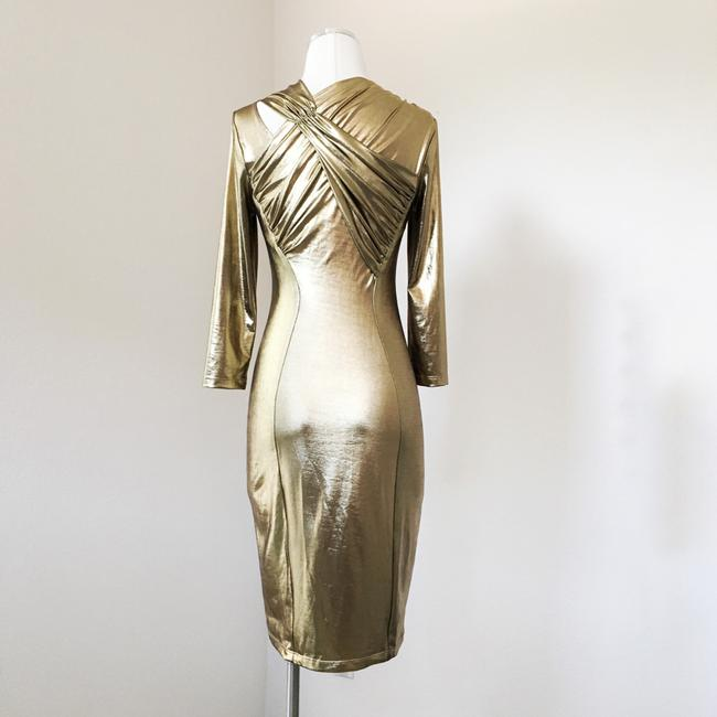 A.B.S. by Allen Schwartz Lame Sexy Fitted Bodycon Metallic Dress Image 3