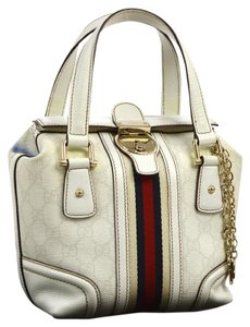 Gucci Equestrian Accents Mint Vintage Rare Style Clasp W Fob From Jolicoeur Line Satchel in white and embossed grey large G print & white leather with red and navy center stripe & lock/key