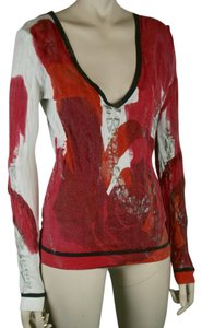 LUISA CERANO V Neck Long Sleeve Cotton Top HOT PINK, WHITE, BLACK, METALLIC SILVER