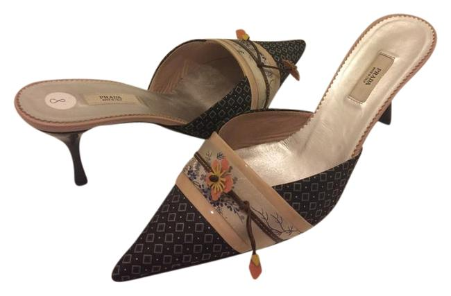 Item - Gray Multi Silk Mules/Slides Size US 8 Regular (M, B)