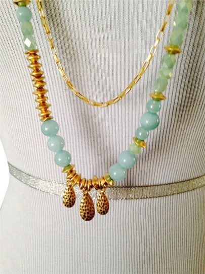 Dune & Willow Faceted Amazonite Gemstone & 14kt Plated Double-Strand Necklace Image 0