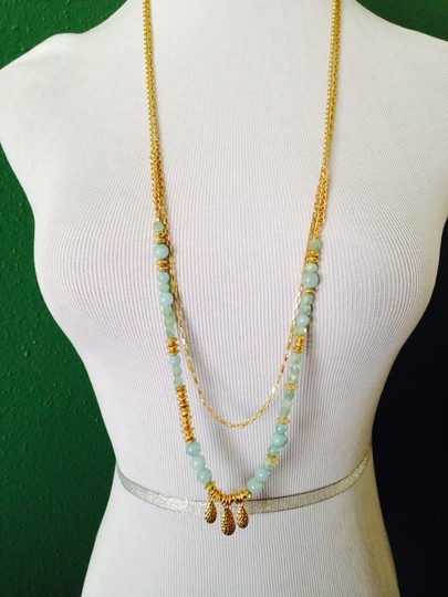 Dune & Willow Faceted Amazonite Gemstone & 14kt Plated Double-Strand Necklace Image 1