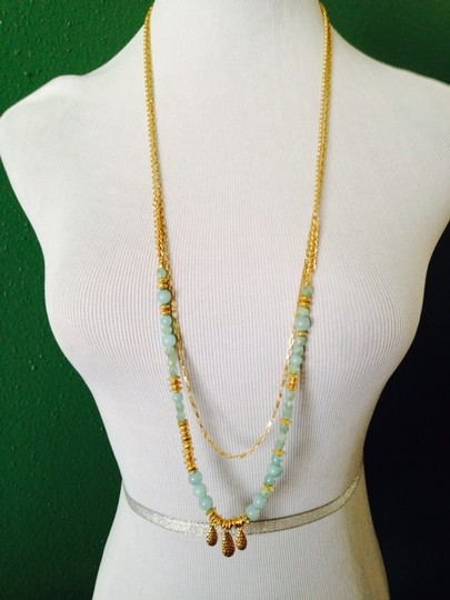 Dune & Willow Faceted Amazonite Gemstone & 14kt Plated Double-Strand Necklace Image 2