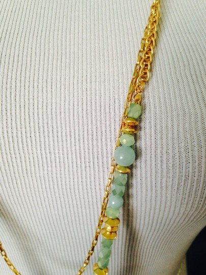 Dune & Willow Faceted Amazonite Gemstone & 14kt Plated Double-Strand Necklace Image 3