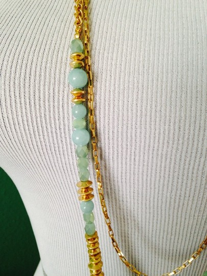 Dune & Willow Faceted Amazonite Gemstone & 14kt Plated Double-Strand Necklace