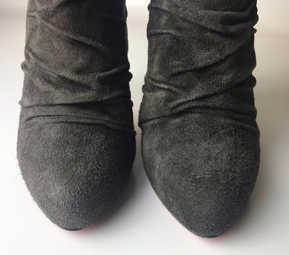 f3150fdccd7 Christian Louboutin Gray Piros 120 Ruched Suede Euro / 10 Boots/Booties  Size EU 40 (Approx. US 10) Regular (M, B) 68% off retail