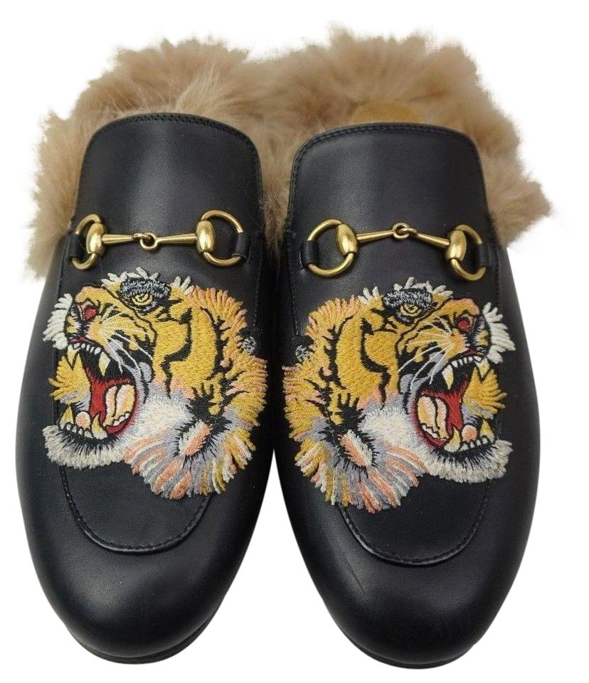 b541f93c534 Gucci Black Princetown Fur Leather Tiger Embroidery Women s Loafer  Mules Slides