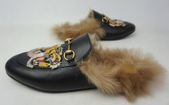 025d4cb2d Gucci Black Princetown Fur Leather Tiger Embroidery Women