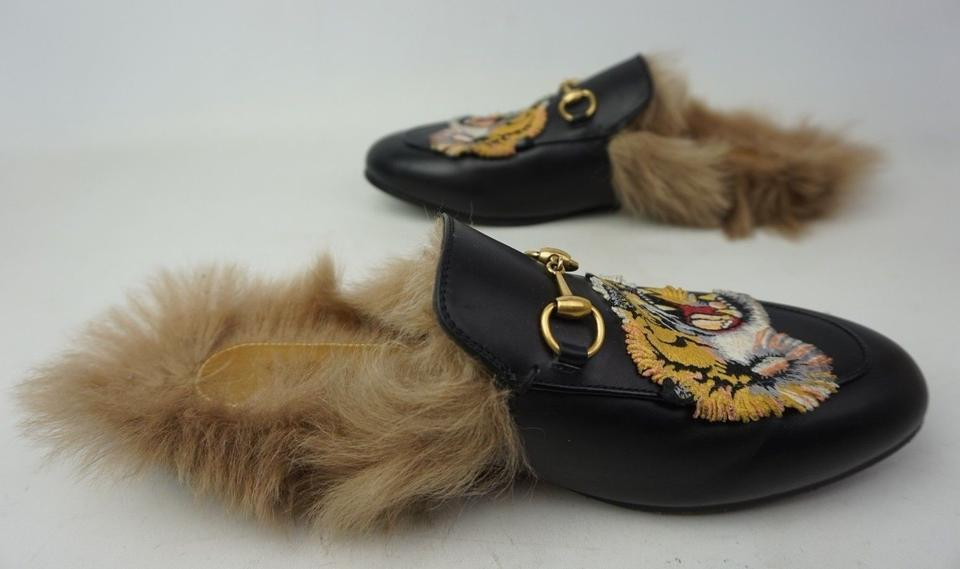 c673b526678 Gucci Black Princetown Fur Leather Tiger Embroidery Women s Loafer ...