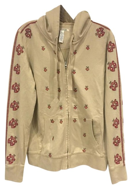 Item - Red Tan Yellow Black Embroidered Sweatshirt/Hoodie Size 14 (L)