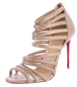 Christian Louboutin Ankle Peep Toe Strappy Metallic Gold Hardware Beige, Gold Sandals