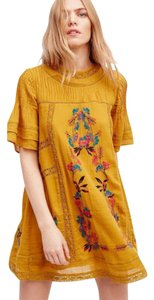 Free People short dress NWT Dark Yellow Omg Lace Trim Floral Embroidery Vintage Inspired Lined on Tradesy