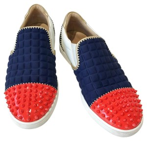 Christian Louboutin White / Blue / Red Flats
