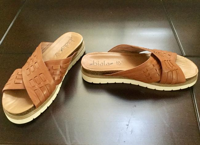 Item - Tan Woven Joanie Leather Slides Sandals Size US 6.5 Regular (M, B)