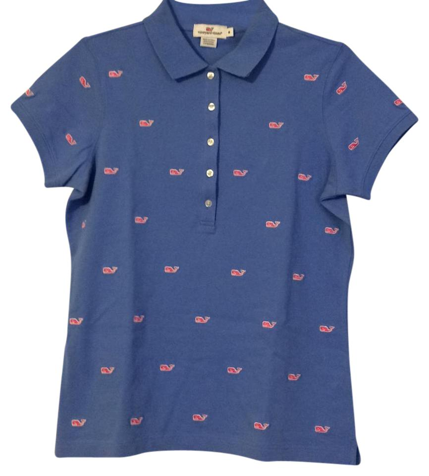 Vineyard vines baby blue w pink polo t shirt blouse size for Baby pink polo shirt