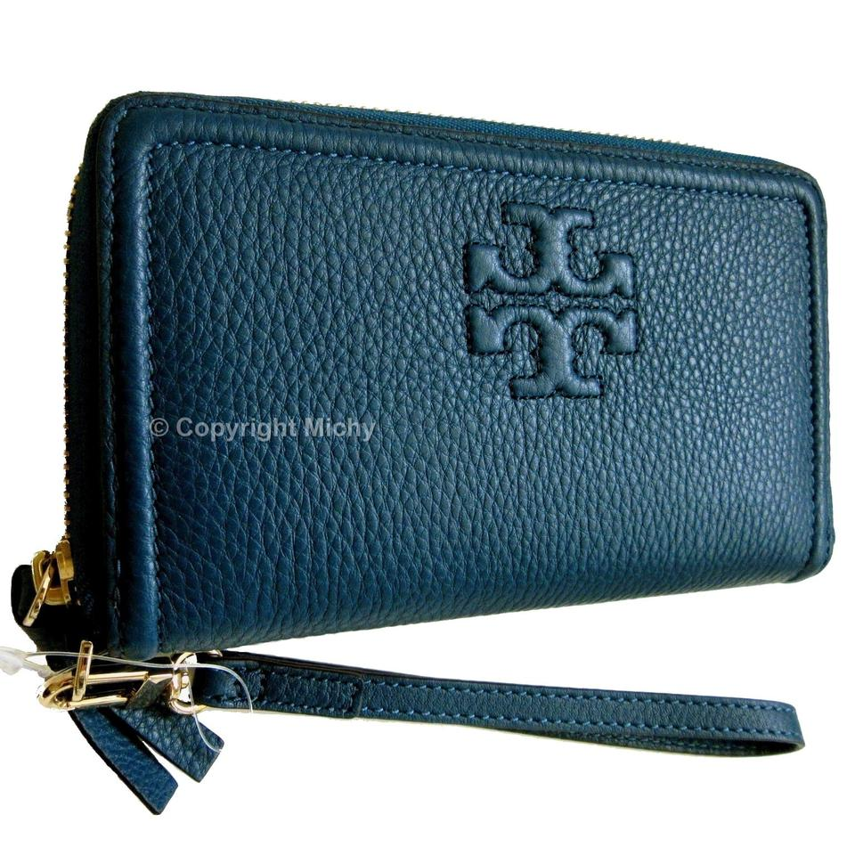 e3f111d5c8 Tory Burch Thea Zip Around Smartphone Wallet Tidal Wave (Blue) Leather  Wristlet