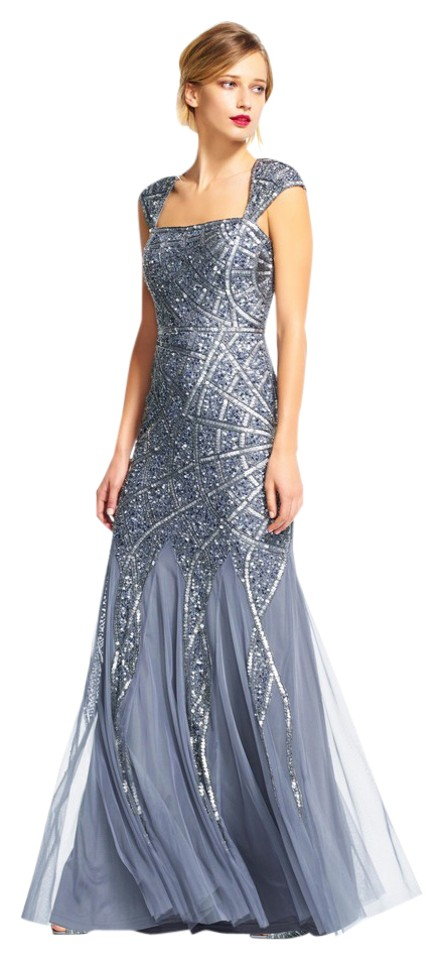 Adrianna Papell Sterling Blue Cap Sleeve Sequin Beaded Gown Long ...