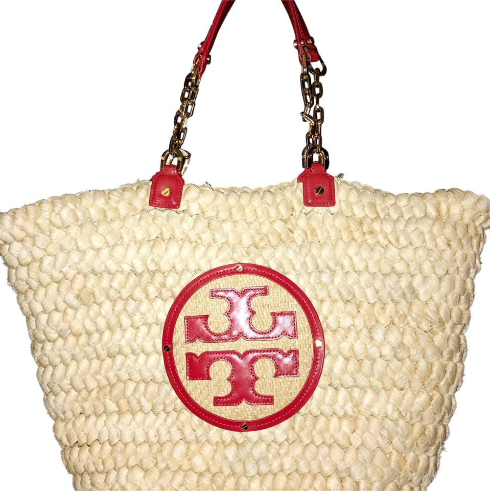 4ed729adcd5 Tory Burch Audrey Tan   Red Leather Straw Tote - Tradesy