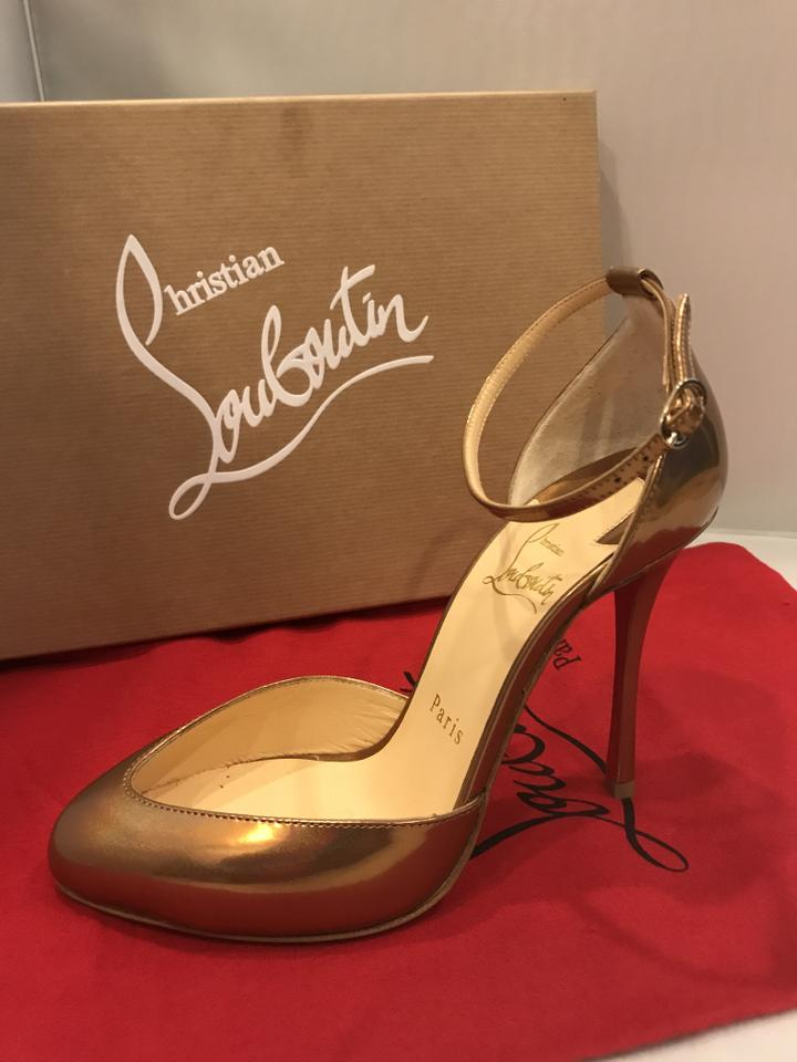 0a43d64406f6 Christian Louboutin Patent Leather Dollyla Metallic D orsay Ankle Strap  Cappuccino (bronze) Sandals. 123456789101112