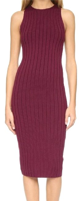 Item - Maroon Varvana Ribbed In Bordeaux Mid-length Night Out Dress Size 0 (XS)