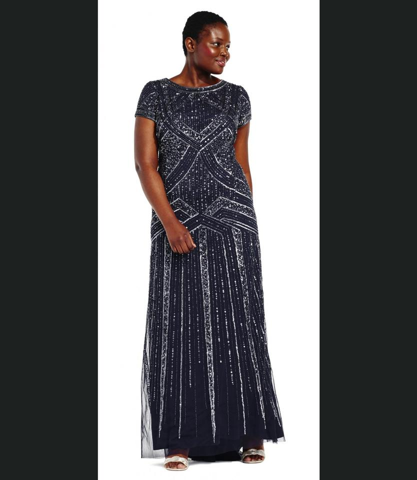 Adrianna Papell Navy Blue Geometric Beaded Gown Long Formal Dress ...