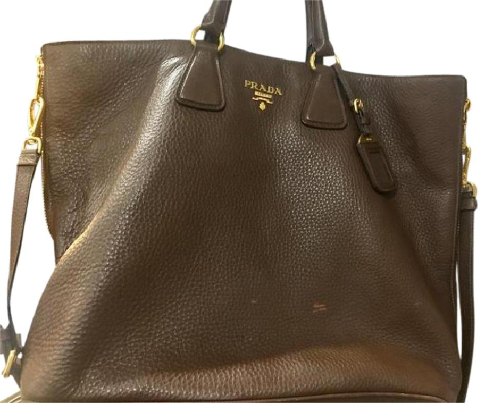 52ce8cc06efd Prada Vitello Phenix Textured Shopping Bn2419 Brown Leather Tote ...