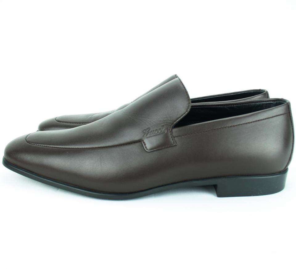 3345d2682a017 Gucci Dark Brown New 278958 Men s Leather Loafer with Script 6 Us7 Formal  Shoes Size US 7 Regular (M