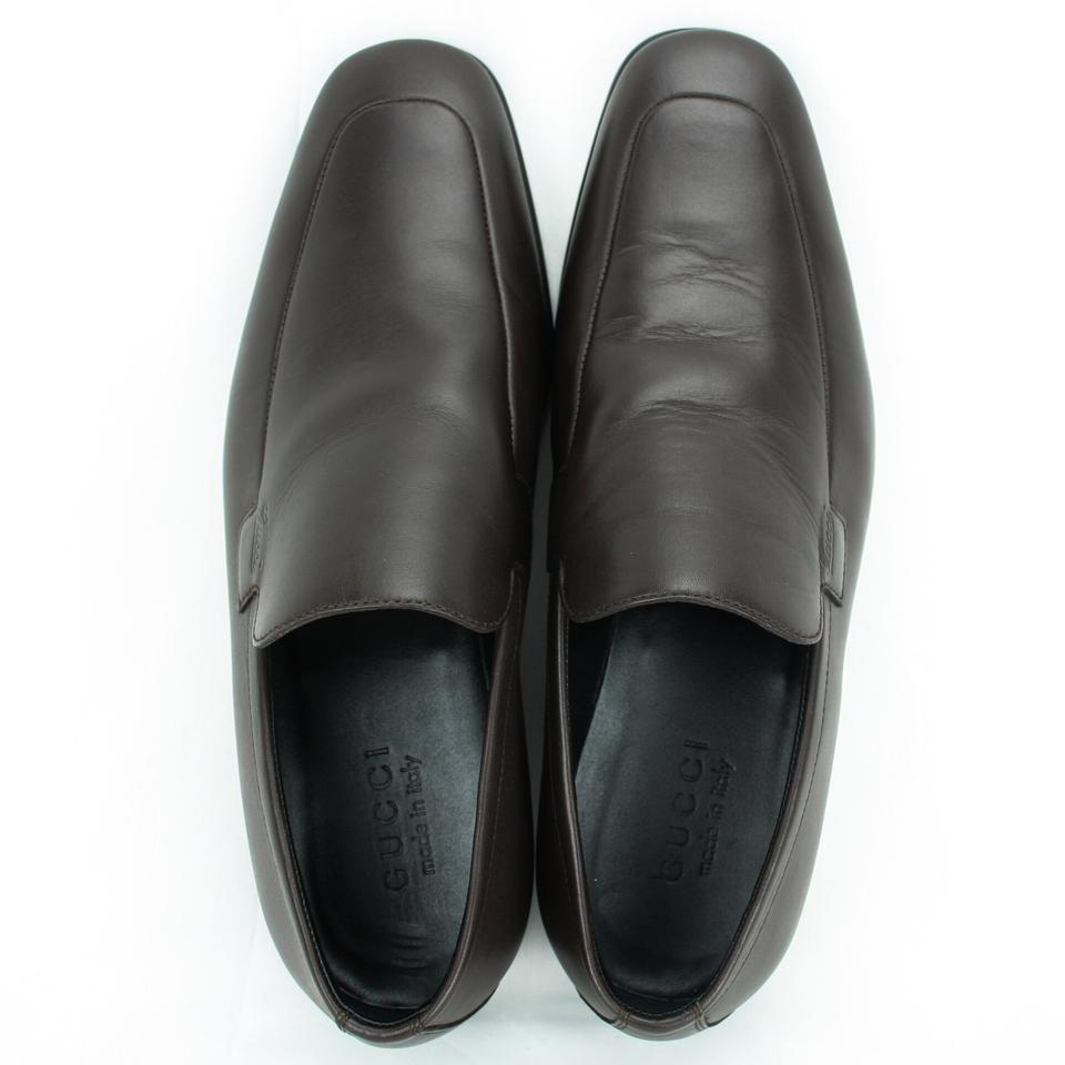 6bce04a60 Gucci Dark Brown New 278958 Men's Leather Loafer with Script 6 Us7 ...