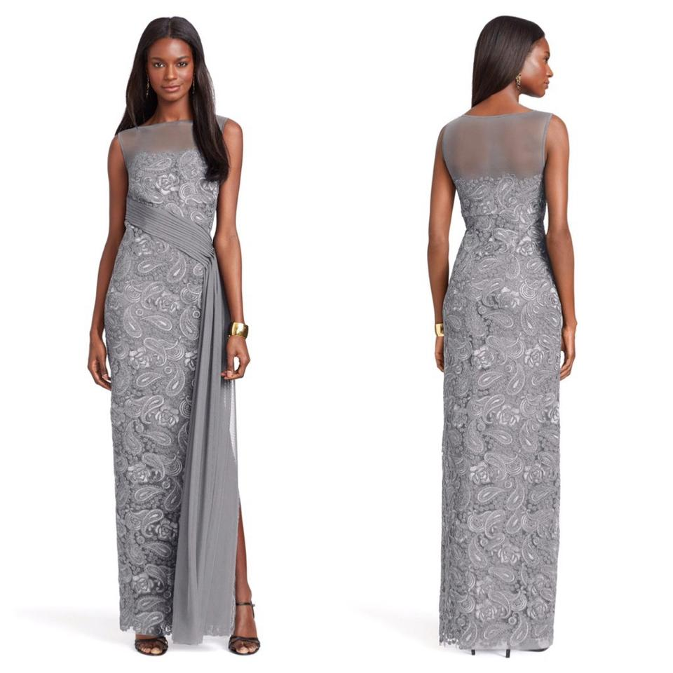 Ralph Lauren Gray Embroidered Gown Long Formal Dress Size 10 (M ...