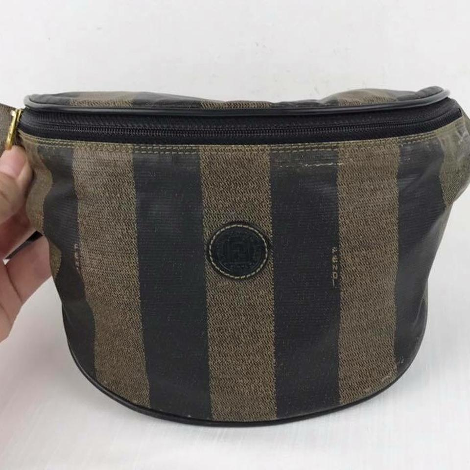 d00978ce7110 Fendi Vintage Striped Fanny Pack Brown Soft Canvas Cross Body Bag ...