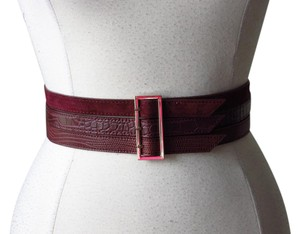 White House | Black Market New with tags mixed material burgundy wide belt size Large
