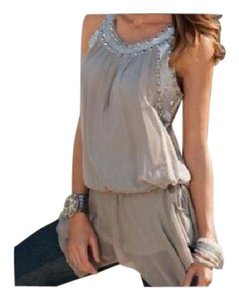 Boston Proper Sequin Studded Drawstring Waist Sheer Sleeveless Top GREY