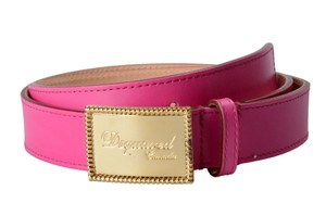 Dsquared2 Dsquared2 Women's Fuchsia Genuine Leather Metal Buckle Decorated Belt
