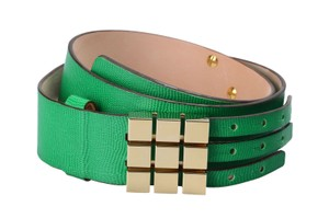 Dsquared2 Dsquared2 Women's Green Snake Skin Print Genuine Leather Belt